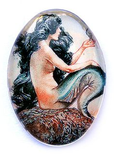 25x18 Mermaid 1920s Glass Cameo Antique Vintage Handmade Supplies Art Nouveau |     I want to turn this into my next tattoo--with some modifications this is the best picture that demonstrates what I've been looking for...