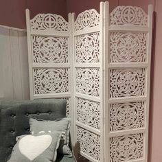 Whole House Worlds x Heritage Home Farmhouse 3 Panel Room Divider Panel Room Divider, Room Divider Headboard, Headboard Ideas, Folding Room Dividers, Couple Room, Moroccan Bedroom, Modern Master Bedroom, Living Styles, Rustic White