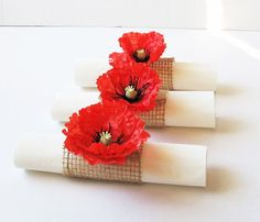 15 Napkin Rings Red Poppies Brown Burlap by TheSecretGardenn