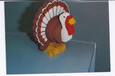 thanksgiving yard decorations    Handmade wooden painted 3 D turkey Thanksgiving table decoration ...