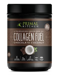 Primal Kitchen Chocolate Collagen Fuel is made with 20 grams of protein from grass-fed collagen and healthy fat from coconut milk.