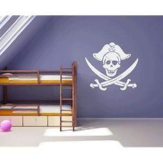 En Motif crâne et croix os pour chambre Sticker Mural Pirate Garçon, Burgandy Matt, Regular