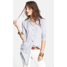Free People Breakfast in Bed Blouse - Light Blue NWT! A sleek button-front top is styled with long sleeves, chest pockets and an asymmetrical back seam that releases into a shirttail hem.  100% rayon Free People Tops Blouses