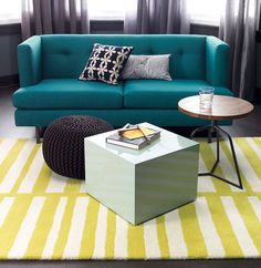 Bright sofa and rug to make things pop in the living room