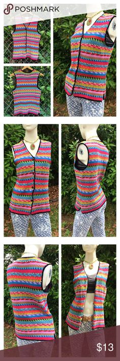 "90's Geo Abstract Funky Hippie Sweater Vest Boho ❤️Colorful #coogi style classic sweater vest. Marked size small.  ❤️Excellent vintage condition❤️  ❤️ Approx Measurements laid flat-  (double where necessary)  Shoulder to shoulder: 14.5"" Underarm to underarm: 18.5"" Waist: 17"" Hips: 18.5"" Shoulder to Hem: 25""  (posh only) Susan Bristol Jackets & Coats Vests"