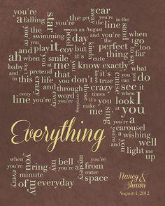 Everything by Michael Buble #ifounditonetsy #weddinglyrics #everything #lovesong