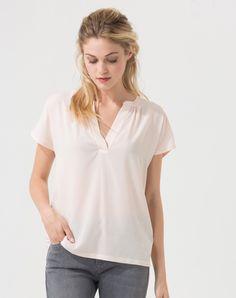 Tee-shirt rose pâle bi-matière Babylone T-Shirts 1-2-3.fr