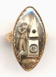 "Memorial jewelry almost never depicts a man grieving....it is always a woman.  Here, a man is grieving at a tomb made of ivory.  On the back is inscribed, ""Sam'l Sampson ob. 11 Dec. 1788 at"