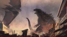 Artistic Godzilla 2014 vs. Muto Oil Painting Fan Art