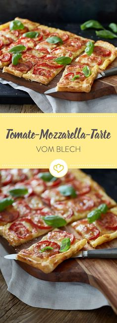 Tomato and mozzarella tart- Tomaten-Mozzarella-Tarte Made quickly – even in large quantities – and aromatic, melting and crisp at the same time. This tomato mozzarella tart knows what foodies want. Recipes Breakfast Video, Healthy Breakfast Recipes, Easy Healthy Recipes, Barbecue Recipes, Grilling Recipes, Appetizer Recipes, Snack Recipes, Pizza Recipes, Tomate Mozzarella