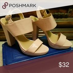 Ladies sandals Fashionable Patten leather blush pink high heel sandals. Perfect compliment to any outfit. Worn 1 time. Report Shoes Sandals