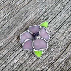 Lilac purple flower stained glass jewelry brooch tiffany gift for her