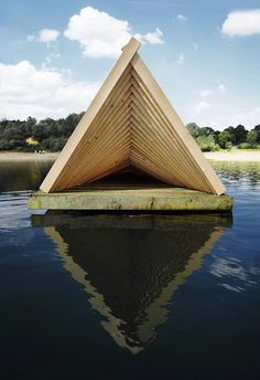 daewha kang design has set a floating pavilion 'circe' as part of the art exhibition 'odyssee' on möhnesee lake, germany by the kunstverein arnsberg museum. Environmental Architecture, Wood Architecture, Residential Architecture, Modern Outdoor Sofas, Homemade Modern, Outdoor Pavilion, Pavilion Design, Concept Ships, Floating