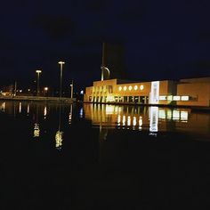 #water #building #reflection #mirror #lights #night #dark Reflection, Lights, Mirror, Dark, Building, Water, Instagram Posts, Gripe Water, Mirrors