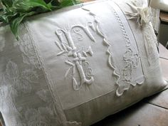 Another lovely pillow using a vintage monogram                                                                                                                                                                                 Plus