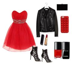 """""""Red and black ❤️"""" by agrdner ❤ liked on Polyvore featuring Dorothy Perkins, Yves Saint Laurent, Marc Jacobs, Chanel and Charlotte Olympia"""