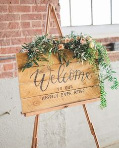 Welcome to our happily ever after greenery wedding welcome sign