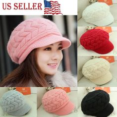 2bdf6edd21add0 2018 NEW Women Beret Winter Knit Crochet Hat Lady Warm Baggy Beanie Ski  Chic Cap https