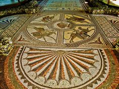 The beautiful 4th century Orpheus mosaic at Littlecote Roman Villa in Wiltshire by Anguskirk, via Flickr