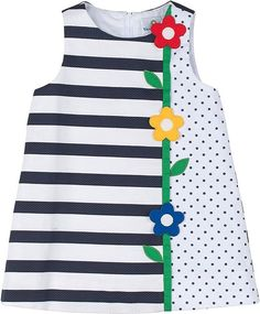Polka-Dot & Stripe Pique Dress, Navy/White, Sizes by Florence Eiseman at Bergdorf Goodman.Keep your little cutie stylish without sacrificing comfort by adding Florence Eiseman clothing and dresses to his or her wardrobe.Girls' Designer Clothing at Ne Frocks For Girls, Kids Frocks, Little Dresses, Little Girl Dresses, Baby Dresses, Dress Girl, Sewing Clothes, Doll Clothes, Baby Frocks Designs