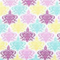 """APT5-2 Citron, Pink, Magenta & Turquoise Aztec Medallion Fabric is 44"""" - 45"""" wide and 100% cotton. Color your world with beauty using this gorgeously-patterned fabric. With aztec-style medallions in turquoise, plum-magenta, citron and turquoise, all atop a white backdrop, this fabric will make beautiful pillow covers, drapes, curtains, and so much more"""