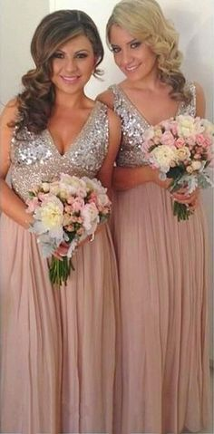 A-Line V-Neck Floor-Length Empire Pink Chiffon Bridesmaid Dress with Sequins