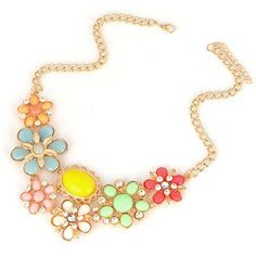 Shopping Multicolor Flower Petal Gemstone Decorated Alloy Korean Necklaces www.asujewelry.com