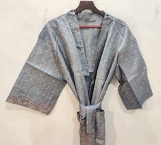 Silk Robe Long, Silk Kimono Robe, Long Kimono, Long Gown Dress, Wedding Kimono, Indian Silk Sarees, Traditional Fashion, Bridesmaid Robes, Antique Clothing
