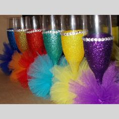 Glitter, Bling and Mini Tutus - decorated wine glasses or champagne glasses | Scott's Marketplace