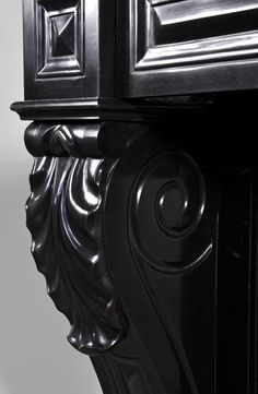 Antique Napoleon III style fireplace with lion's paws in Black Belgium marble…