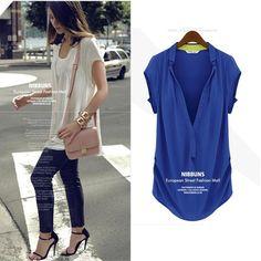 2014 novas mulheres moda verão chiffon v-pescoço blusas brancas soltas camisas de manga curta botão cobre plus size frete grátis US $8.99