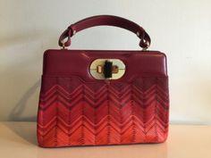 Authentic-Bulgari-Isabella-Rossellini-Red-RubyChevron-Pattern-calf-Leather-3450