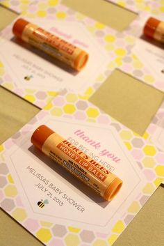Lip balm favors at a Mommy to Bee Baby Shower!  See more party ideas at CatchMyParty.com!