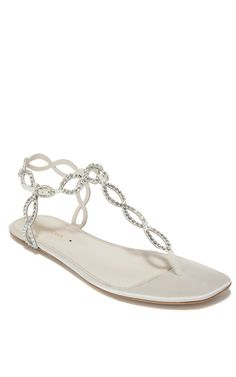 SERGIO ROSSI RESORT  Ivory Flat Jeweled Sandal