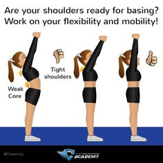 Cheer flexibility tips for bases: are your shoulders ready for basing? Work on shoulder flexibility!  Find out more tips on the link