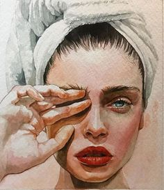 Emily Vaughn - watercolor {beautiful female head celebrity fingers in eye woman face portrait painting}