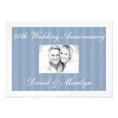 Striped Blue 50th Wedding Anniversary Invitations Striped Blue 50th Wedding Anniversary Invitations #anniversary #50th #wedding