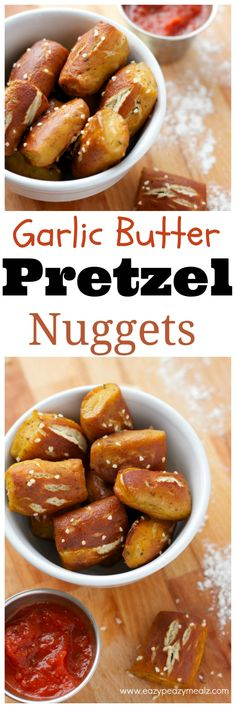 Soft buttery pretzel bites. Just like what you would get at the ball game. The perfect appetizer, snack, game day food. It is a soft, but chewy, crispy outside, pillowy inside, and oh so delicious. Easy Garlic Butter Soft Pretzel Bites - Eazy Peazy Mealz