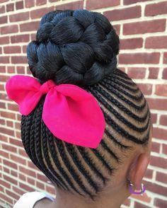 Little Girls Natural Hair Style Braided Bun cornrows french braided