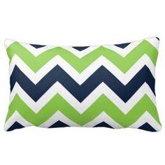 Navy Blue Green White Chevron Pattern Pillow - Green Throw Pillows