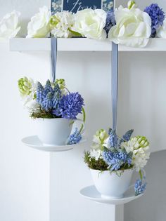 Hanging Tea Cup with flowers