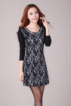 Korean Autumn Fashion Plus Size Slim Dress