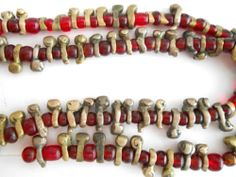 """""""IGBO BUGS"""" Fulani Brass and Red Bohemian Glass African Trade Beads 20 inches"""
