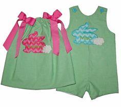 Easter Bunny Dress & Shortall - Green Gingham