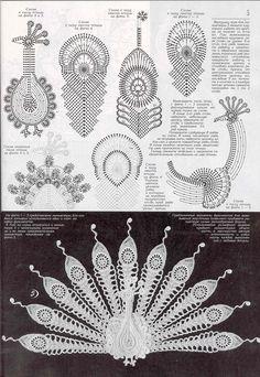 Tina's handicraft : 6 patterns for crochet peacock irish lace Irish Crochet Tutorial, Irish Crochet Patterns, Crochet Motifs, Crochet Diagram, Freeform Crochet, Crochet Designs, Irish Crochet Charts, Peacock Crochet, Crochet Birds