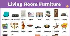 The following article provides the list of living room furniture with many useful example sentences in English and ESL infographic. Let's take a look in this Learn English For Free, Carpet Padding, Chair And A Half, Cable Box, Fireplace Tools, Grandfather Clock, First Tv, English Study, Blinds For Windows