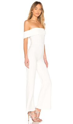 e01e0b3efb20 Aubrey Off Shoulder Jumpsuit in White Off Shoulder Jumpsuit