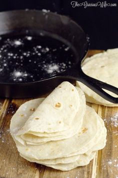 Homemade flour tortillas -frugal and way more delicious than store-bought tortillas. Warm, soft tortillas perfect for your next taco or burrito dinner night Recipes With Flour Tortillas, Homemade Flour Tortillas, Corn Tortillas, Mexican Dishes, Mexican Food Recipes, Indian Recipes, Pan Arabe, Cooking Recipes, Cooking Tips