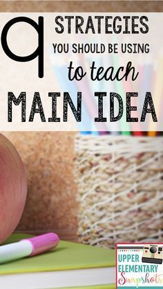 9 Strategies To Teach Main Idea. These nine main idea strategies will help your students successfully master this important reading skill. The Teacher Next Door shares her favorite main idea strategies for teachers of upper elementary students. Reading Lessons, Reading Skills, Teaching Reading, Reading Workshop, Reading Fluency, Reading Resources, Reading Activities, Reading Centers, Guided Reading