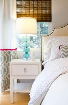 curtains with coordinating fabric/trim to pillow- recreate with white curtains and fabric of choice?